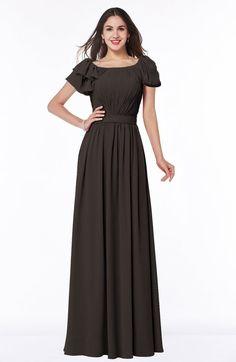 Java Mature A-line Zipper Chiffon Floor Length Plus Size Bridesmaid Dresses