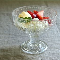 Dessert, snacks nibbles, always served in style in this iconic design bowl Kastehelmi bowl clear by Iittala