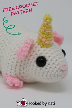 The magical guinea pig uincorn is an adorable fantasy version of our favorite household pet! Make this and the pigasus, a guinea pig with wings, to add a little magic to your life. Easy Crochet Projects, Crochet Patterns For Beginners, Yarn Projects, Easy Crochet Patterns, Crochet Patterns Amigurumi, Crochet Designs, Crochet Toys, Crochet Baby, Free Crochet