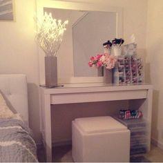 IKea Malm vanity for master bedroom Girls Bedroom, Home Bedroom, Bedroom Decor, Master Bedroom, Bedrooms, Bedroom Simple, Decor Room, Bedroom Designs, Bedroom Ideas