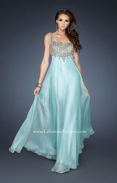 Empire waist chiffon gown with a scoop neck and elegantly beaded strapped bodice. The beads cascade to a slight V in the center of the front and low scooped back. Side zipper closure.