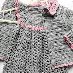 Best 12 This Pin was discovered by Mar – Page 766949011521973968 – SkillOfKing. Crochet Baby Jacket, Baby Girl Crochet, Crochet Baby Clothes, Crochet For Kids, Knit Crochet, Crochet Girls Dress Pattern, Baby Dress Patterns, Baby Knitting Patterns, Diy Dress