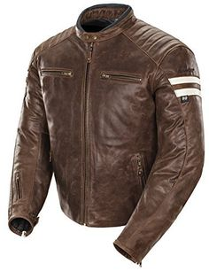 Classic '92 Men's Leather Motorcycle Jacket (Brown/Cream, Medium)
