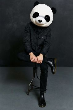 Lazy Halloween costume - all you need is a panda head and an all black outfit! No need to do your hair or makeup. Lazy Halloween Costumes, Panda Costumes, Halloween Fun, Panda Head, Panda Art, Colorful Wallpaper, Cool Wallpaper, Wallpaper Ideas, All Black Costumes