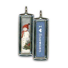 I Love Snowmen Soldered Glass Pendant / Charm