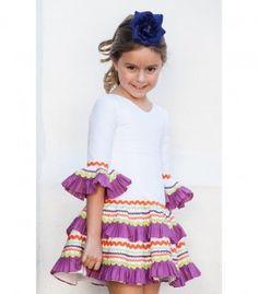 Vestido Gitana Blanco Little Girl Dresses, Little Girls, Girls Dresses, Summer Dresses, Flamenco Dancers, Spanish Fashion, Love Sewing, Short Tops, Smocking