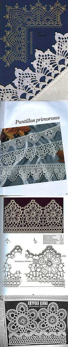 Archive of albums - Knitting by a hook and spokes\/Crochet and knitting // Svetlana Satubaldina Crochet Boarders, Crochet Lace Edging, Crochet Diagram, Crochet Stitches Patterns, Crochet Chart, Lace Patterns, Thread Crochet, Crochet Trim, Love Crochet