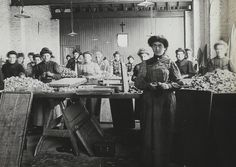 Women workers at a German matchmaking factory, c1900.