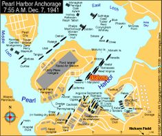 Ship locations at Pearl Harbor, the morning of December 07, 1941, at the opening of hostilities.