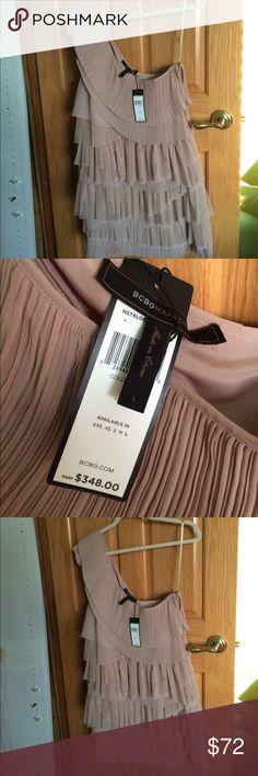 BCBG One Shoulder Dress NWT! Size L. BCBG MAXAZRIA soft beige one shoulder dress. Has zipper on side. BCBG Dresses One Shoulder