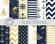 Nautical Digital Paper : Nautiques imprimer par MNINEDESIGNS