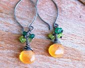 Artisan Sterling Silver, Carnelian Earrings with Peridot and Green Aventurine, Handmade