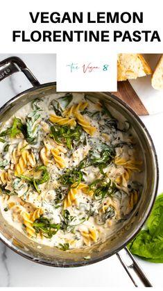 Easy Healthy Pasta Recipes, Vegan Dinner Recipes, Delicious Vegan Recipes, Vegan Dinners, Raw Food Recipes, Vegan Meal Prep, Vegan Vegetarian, Vegetarian Recipes, Vegan Party Food