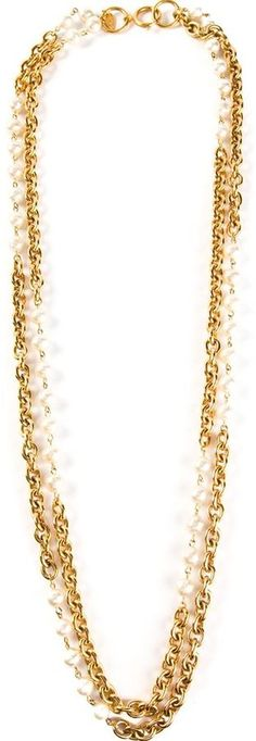 Chanel pearl embellished long chain necklace on shopstyle.com