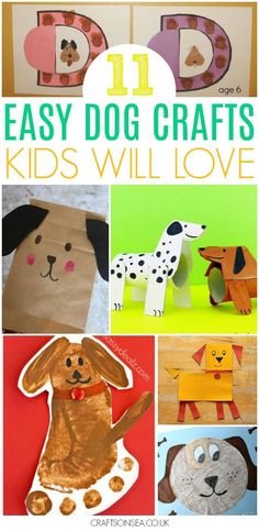 11 Super Easy Dog Crafts for Kids Possibly the cutest inspiration you'll get today? These dog crafts for kids are … Easy Arts And Crafts, Arts And Crafts House, Arts And Crafts Projects, Arts And Crafts Supplies, Animal Crafts For Kids, Toddler Crafts, Animals For Kids, Easy Art For Kids, Crafts For Kids To Make