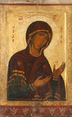 """ΜΡ.ΘΥ__Παναγια """" Δεομενη"""" ( Cyprus exhibition, Louvre, 2013, double-sided icon, 12th-13thc, Pelendri, Chapel-Museum of the Holy Cross"""