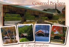 Postcard featuring covered bridges of New Hampshire-- sent to China via Postcrossing