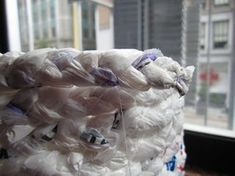 Make a Basket Out of Plastic Bags : 11 Steps (with Pictures) - Instructables Plastic Bag Crafts, Recycled Plastic Bags, Plastic Baskets, Dyi Baskets, Making Baskets, Recycled Art, Paper Napkin Folding, Winter Wedding Centerpieces, Diy Arts And Crafts