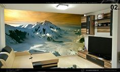 Mountain in a living room sprayed