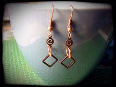 Copper Swirly Diamond Drop Earrings by FourSquaredDesigns on Etsy, $15.00