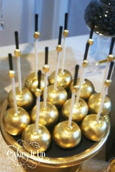 Gold cake pops! Great Gatsby themed birthday party with SO MANY CUTE IDEAS via Kara's Party Ideas KarasPartyIdeas.com Printables, favors, cakes, cupcakes, etc!