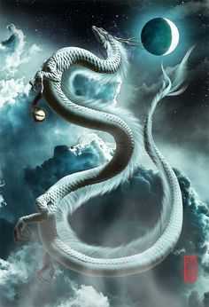 The white Dragon of Peace Mythical Creatures Art, Magical Creatures, Dark Fantasy Art, Fantasy Artwork, Tiamat Dragon, Rukia Bleach, Mythical Dragons, Fantasy Beasts, Dark Art Drawings