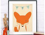 Affiche rétro - fox, renarde, animaux de la forêt, fennec, vintage impression, A4 ou 8 x 10, décoration de mur de pépinière, décor de mur rétro, bébé mignon animal
