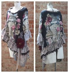Boho-Chic-Revival-Graphic-Tunic-Altered-Couture-Peasant-Tunic-Country-top