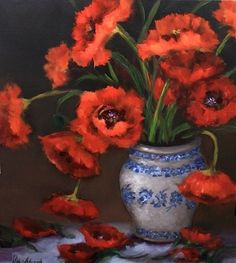 Poppies in Red Oil Painting by Texas Floral Artist Nancy Medina, painting by artist Nancy Medina