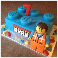 Lego Brick Cake with Fondant Emmet. 100% edible. Visit and like me at www.facebook.com/sabuloussweets