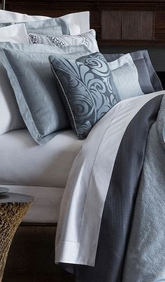 Create a most tranquil bedroom setting with the dusky hues of the SFERRA Andretta Bedding Collection. The elegant design is reminiscent of a leafy paisley and the construction is a one-of-a-kind percale jacquard, which creates a lighter, fresher feeling and possesses a lovely sheen.