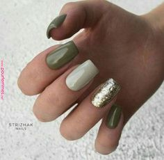 green nails Nails Glitter Green Color Combos 46 Id - test Glitter Accent Nails, Gold Nails, Pink Nails, Glitter Manicure, Olive Nails, Green Nail Designs, Accent Nail Designs, Fall Nail Designs, Nagel Bling