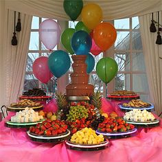 Chocolate fountain with balloon display