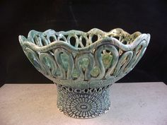 Ceramics, Art Pottery, Coil Pot, Home Decor, Turquoise Green, Candleholder, Candy Bowl, Fruit Bowl, Centerpiece, Planter, Footed Tray. via Etsy.