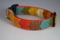 Chevron Desert dog collar colors include teal cream by FunkyMutt, $20.00