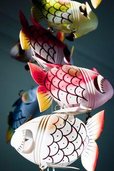 plastic bottle fish mobile  photo by meije timmerman