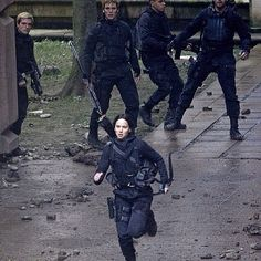 Peeta's just like: What she doing? And Finnick's just like:Oh god no. And the other's are like:No! And then Katniss is all like:Peace!Im out!
