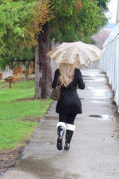JACKET:Michael Kors Rain Jacket (old). Similar here & here. | LEGGINGS:Zella Live In High Waist Leggings | RAIN BOOTS:Hunter Black Gloss Rain Boot| BOOT SOCKS: Hunter Cable Knit Tall Boot S…