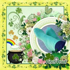 I used A Bit O' Green Page Kit, and A Bit O' Green Clusters both by Carla's Treasures Designs.