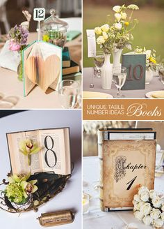 Using a book as a table number can give a table a decidedly vintage feel. Write the number on your favorite page, the cover, or even on display out of the top. Table Numbers, DIY Wedding Ideas, Wood Table Numbers