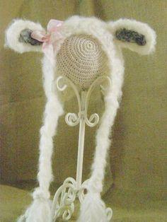 Crochet Newborn Baby Mohair Ivory Lamb Bonnet Photo Prop by kathyneilsen for $20.00