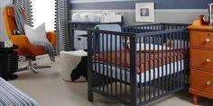 Orange and Blue Nursery.  Sarah Richardson Designs.