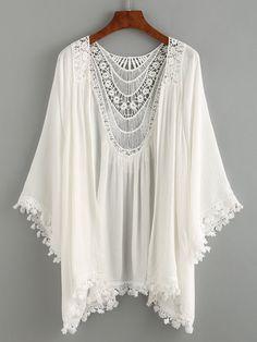 Kimono ribete de encaje crochet -blanco