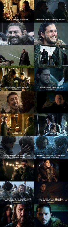 Jon and Ned parallels. Hopefully Jon will learn from Ned's mistakes