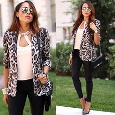 Zara blazer and Kardashian Kollection. Leopard prints and mirrored sunnies. #ootd #kardashian #leopard #Zara