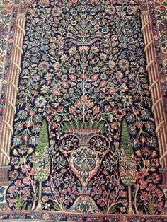 Antique Persian Lavar Kerman 5x7 4x6 4x7 Oriental Area Rug Tree Of Life Purple