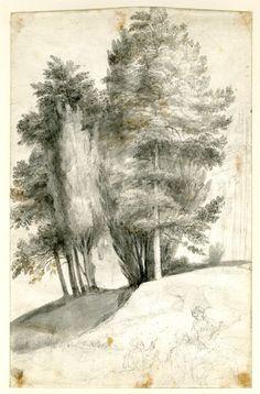 Claude Lorrain (Claude Gellée), 1600-1682, French, Pastoral landscape, c.1655-65. Drawing. British Museum. Classicism.
