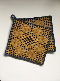 Binemor: Hæklede retro grydelapper Crochet Potholders, Crochet Home, Hygge, Pot Holders, Free Pattern, Projects To Try, Retro, Knitting, Crafts