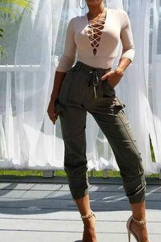 aee8055eed4b Long Sleeve Lace Up Plunge Bodysuit - Nude. Style Loft