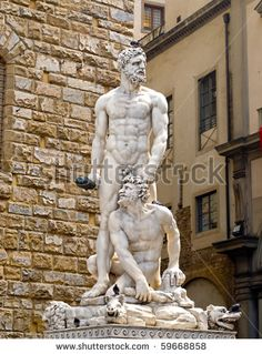 Famous statue of Hercules and Cacus in Florence, Italy -